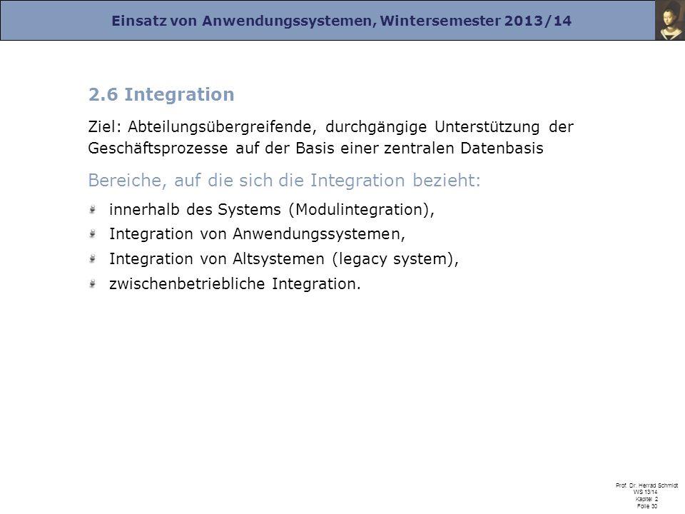 Einsatz von Anwendungssystemen, Wintersemester 2013/14 Prof. Dr. Herrad Schmidt WS 13/14 Kapitel 2 Folie 30 2.6 Integration Ziel: Abteilungsübergreife