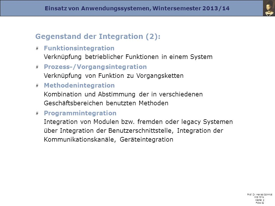 Einsatz von Anwendungssystemen, Wintersemester 2013/14 Prof. Dr. Herrad Schmidt WS 13/14 Kapitel 2 Folie 32 Gegenstand der Integration (2): Funktionsi