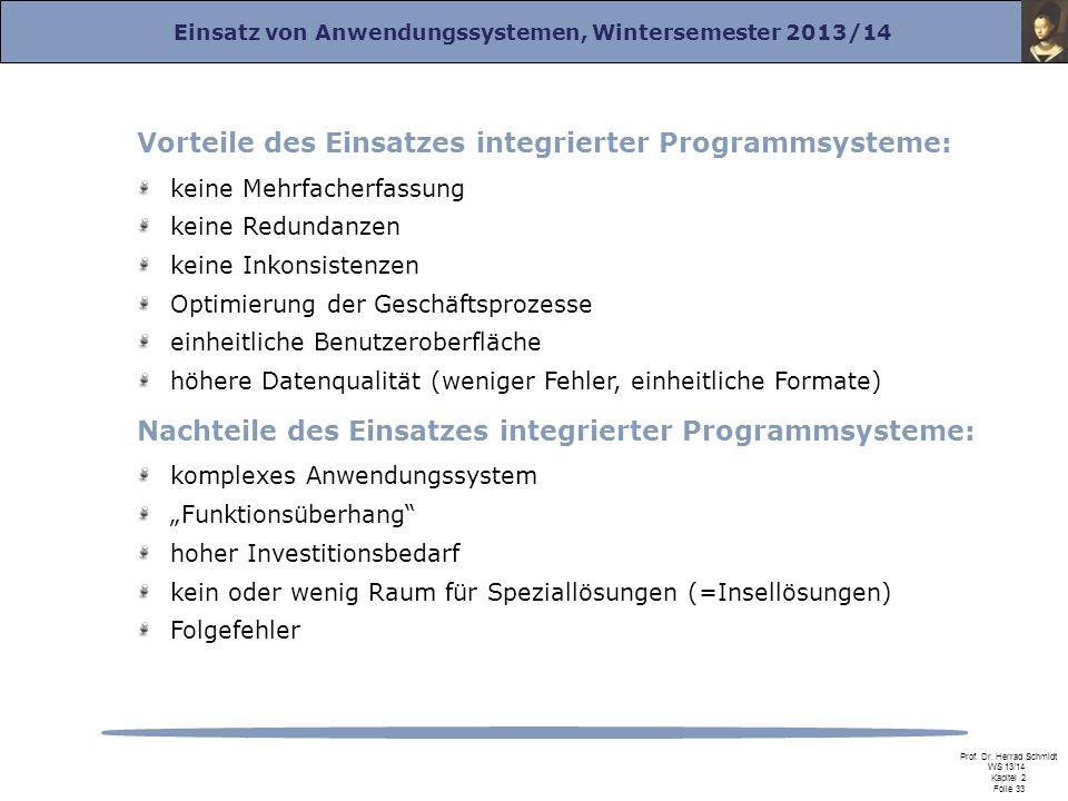 Einsatz von Anwendungssystemen, Wintersemester 2013/14 Prof. Dr. Herrad Schmidt WS 13/14 Kapitel 2 Folie 33 Vorteile des Einsatzes integrierter Progra