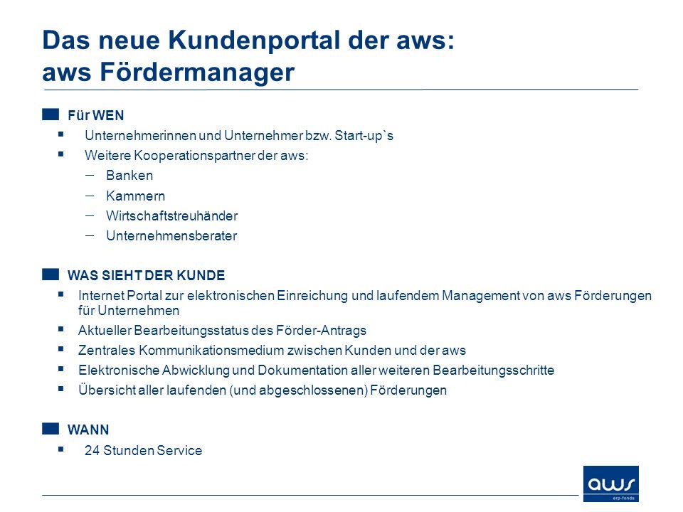 Das neue Kundenportal der aws: aws Fördermanager Für WEN Unternehmerinnen und Unternehmer bzw.
