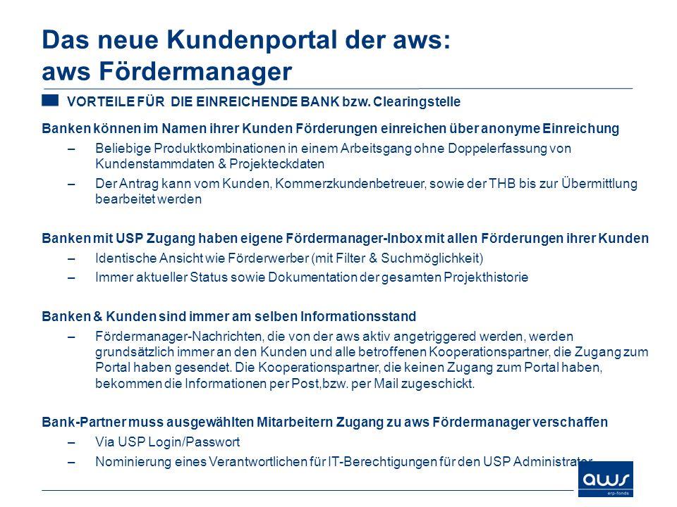Das neue Kundenportal der aws: aws Fördermanager VORTEILE FÜR DIE EINREICHENDE BANK bzw.