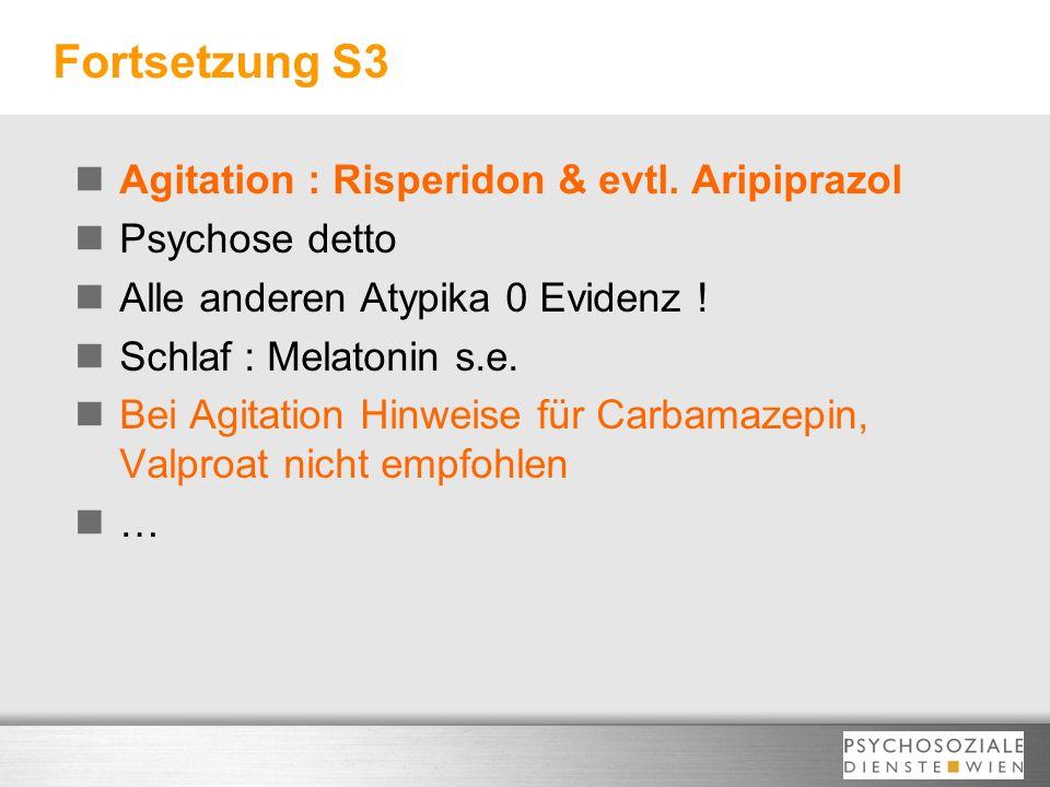 Fortsetzung S3 Agitation : Risperidon & evtl. Aripiprazol Psychose detto Alle anderen Atypika 0 Evidenz ! Schlaf : Melatonin s.e. Bei Agitation Hinwei