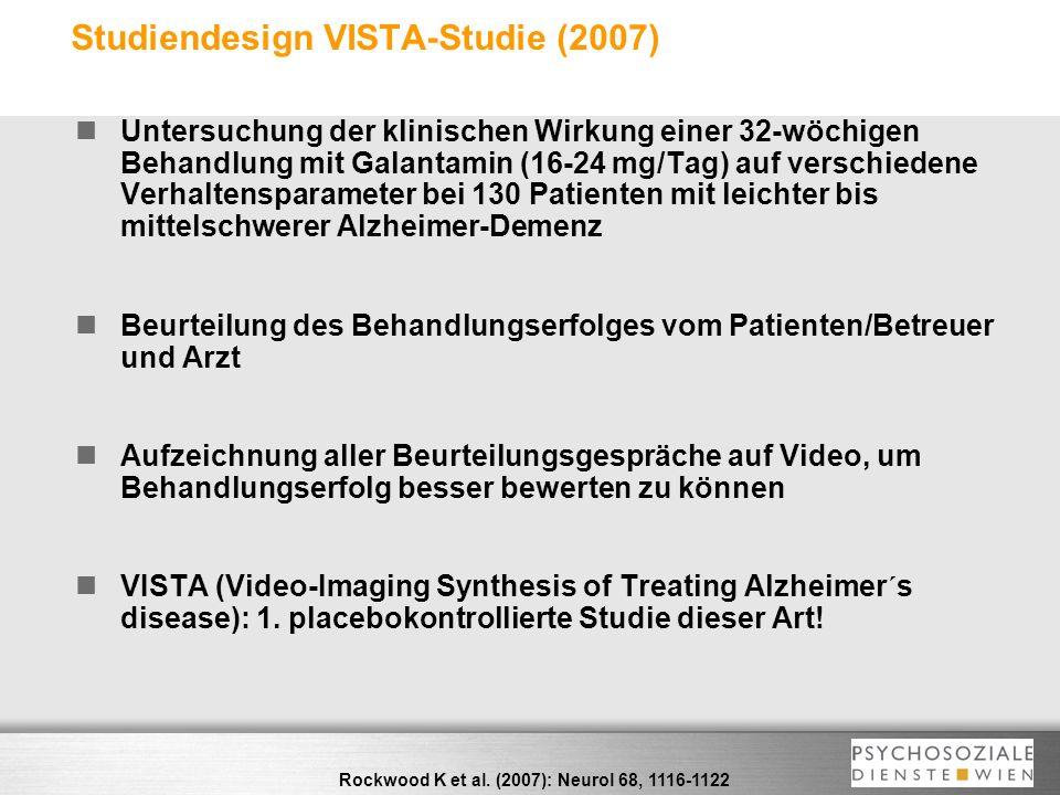 Studiendesign VISTA-Studie (2007) Untersuchung der klinischen Wirkung einer 32-wöchigen Behandlung mit Galantamin (16-24 mg/Tag) auf verschiedene Verh