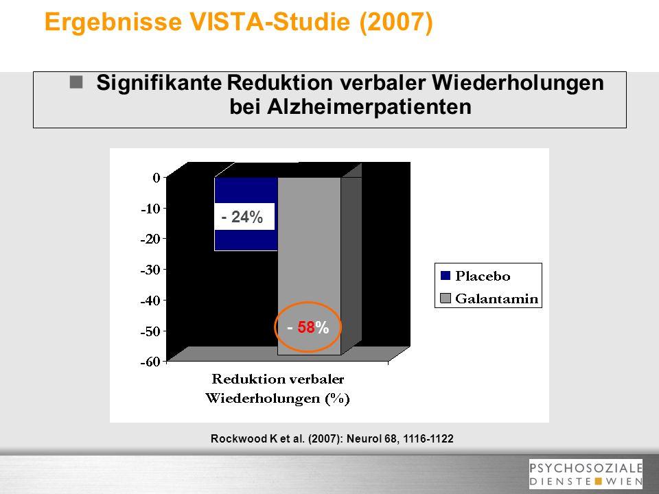 Ergebnisse VISTA-Studie (2007) Signifikante Reduktion verbaler Wiederholungen bei Alzheimerpatienten Rockwood K et al. (2007): Neurol 68, 1116-1122 -