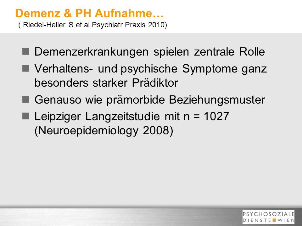Demenz & PH Aufnahme… ( Riedel-Heller S et al.Psychiatr.Praxis 2010) Demenzerkrankungen spielen zentrale Rolle Verhaltens- und psychische Symptome gan
