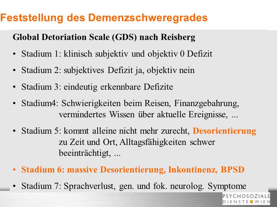 Feststellung des Demenzschweregrades Global Detoriation Scale (GDS) nach Reisberg Stadium 1: klinisch subjektiv und objektiv 0 Defizit Stadium 2: subj