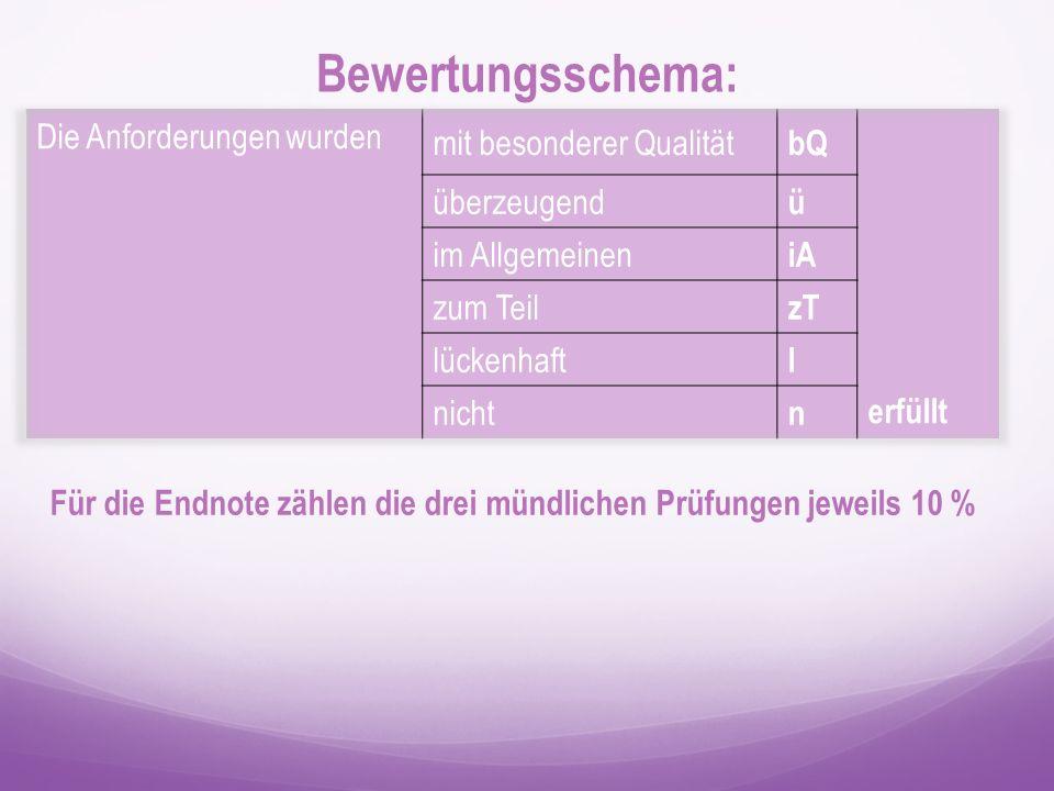 Bewertungsschema: Für die Endnote zählen die drei mündlichen Prüfungen jeweils 10 %