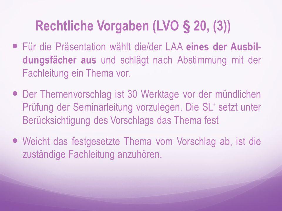 Das Thema wird der/dem LAA 20 Werktage vor der Prüfung mitgeteilt.