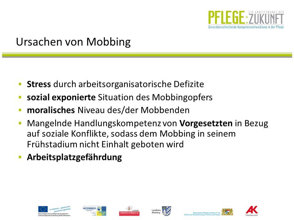 Ursachen von Mobbing Stress durch arbeitsorganisatorische Defizite sozial exponierte Situation des Mobbingopfers moralisches Niveau des/der Mobbenden