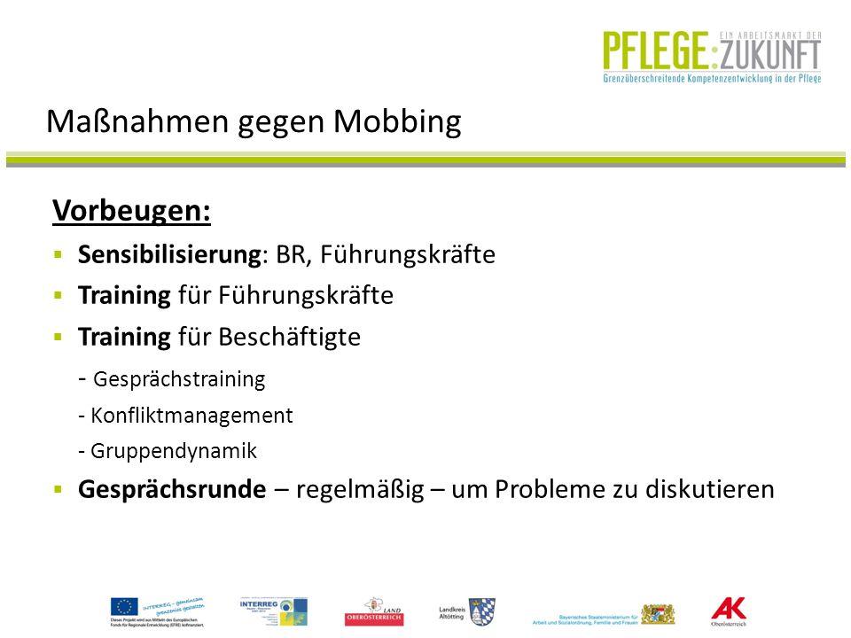 Maßnahmen gegen Mobbing Vorbeugen: Sensibilisierung: BR, Führungskräfte Training für Führungskräfte Training für Beschäftigte - Gesprächstraining - Ko