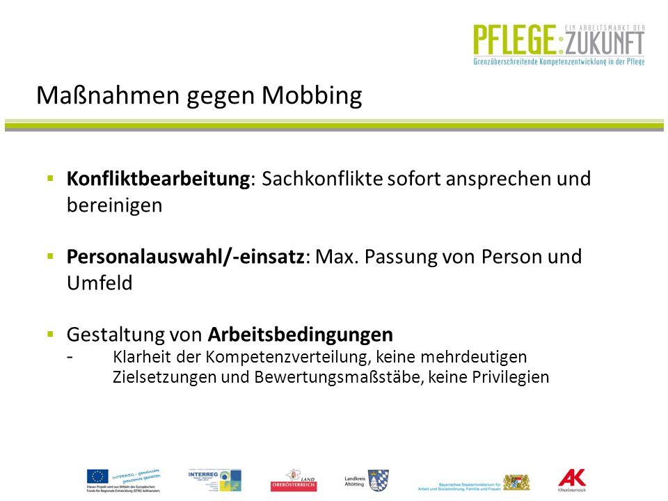 Maßnahmen gegen Mobbing Konfliktbearbeitung: Sachkonflikte sofort ansprechen und bereinigen Personalauswahl/-einsatz: Max. Passung von Person und Umfe