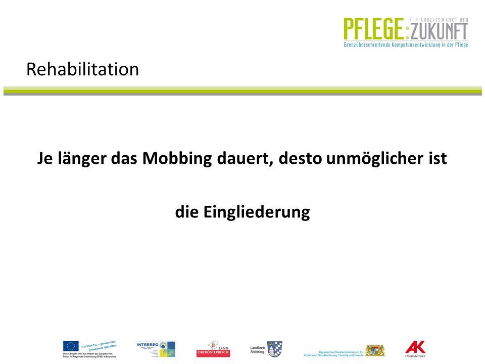 Je länger das Mobbing dauert, desto unmöglicher ist die Eingliederung Rehabilitation