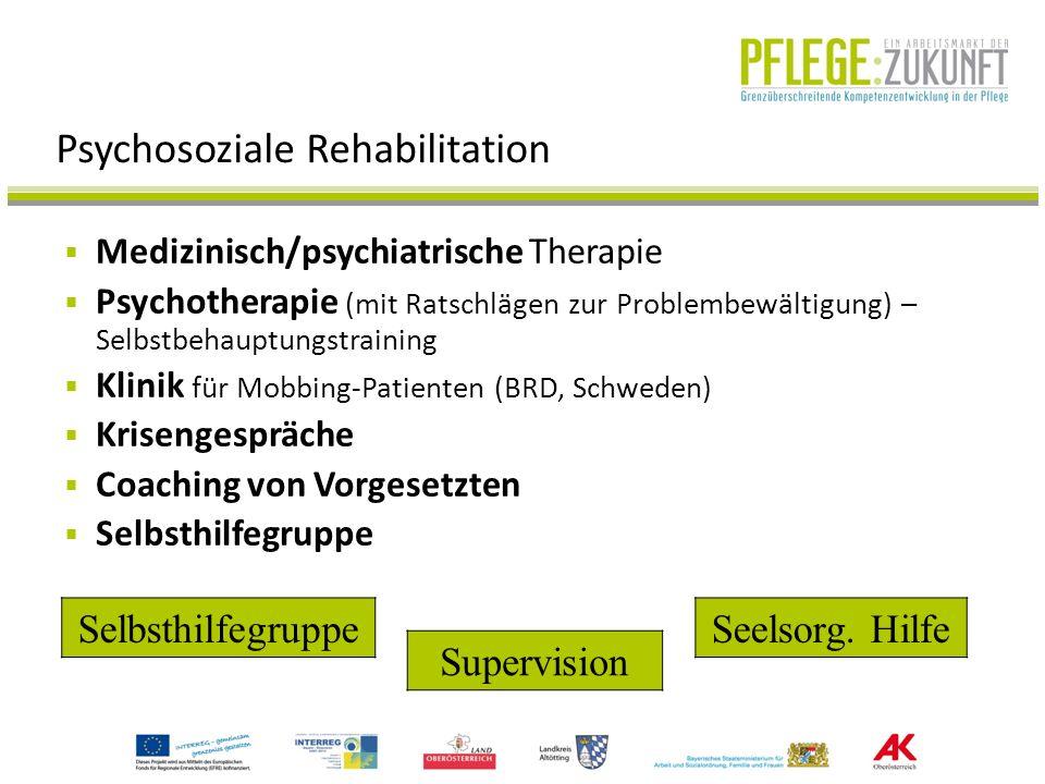 Psychosoziale Rehabilitation Medizinisch/psychiatrische Therapie Psychotherapie (mit Ratschlägen zur Problembewältigung) – Selbstbehauptungstraining K
