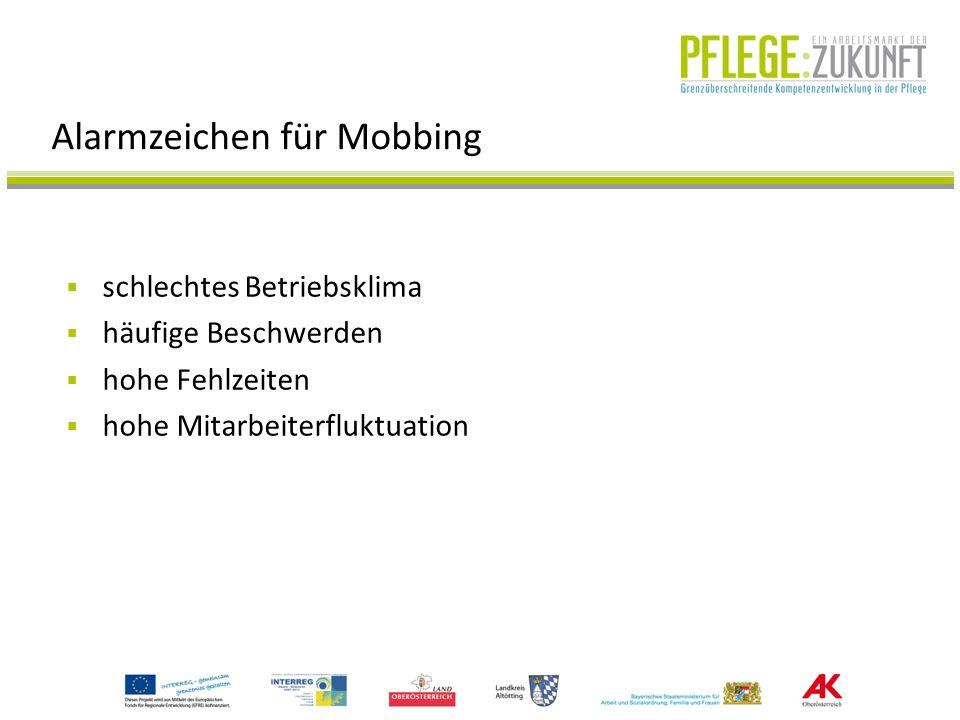 Maßnahmen gegen Mobbing Konfliktbearbeitung: Sachkonflikte sofort ansprechen und bereinigen Personalauswahl/-einsatz: Max.