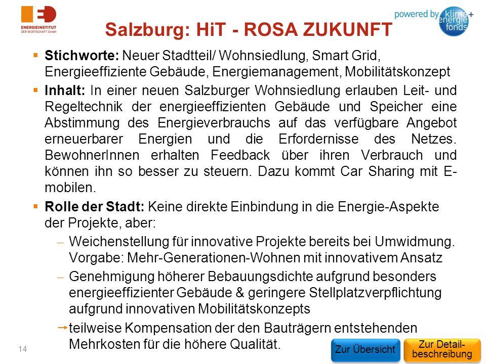 Salzburg: HiT - ROSA ZUKUNFT Stichworte: Neuer Stadtteil/ Wohnsiedlung, Smart Grid, Energieeffiziente Gebäude, Energiemanagement, Mobilitätskonzept In