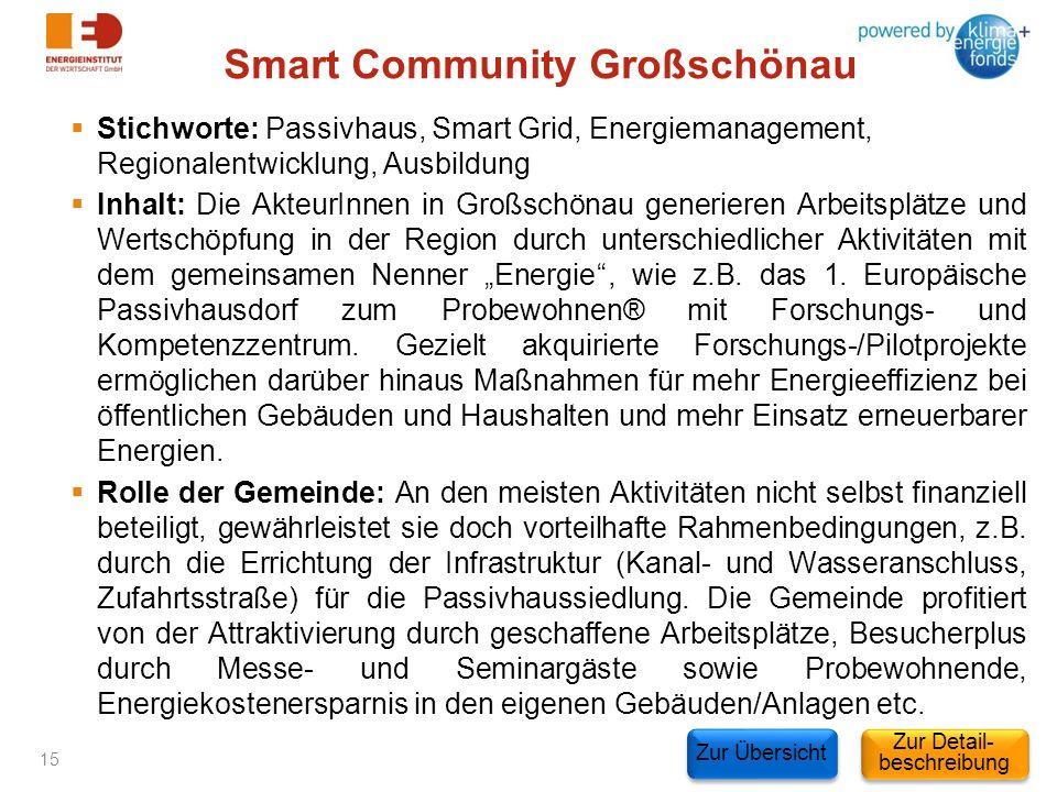 Smart Community Großschönau Stichworte: Passivhaus, Smart Grid, Energiemanagement, Regionalentwicklung, Ausbildung Inhalt: Die AkteurInnen in Großschö