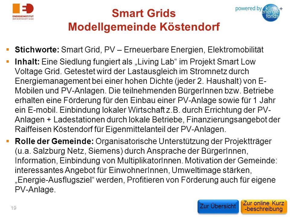Smart Grids Modellgemeinde Köstendorf Stichworte: Smart Grid, PV – Erneuerbare Energien, Elektromobilität Inhalt: Eine Siedlung fungiert als Living La