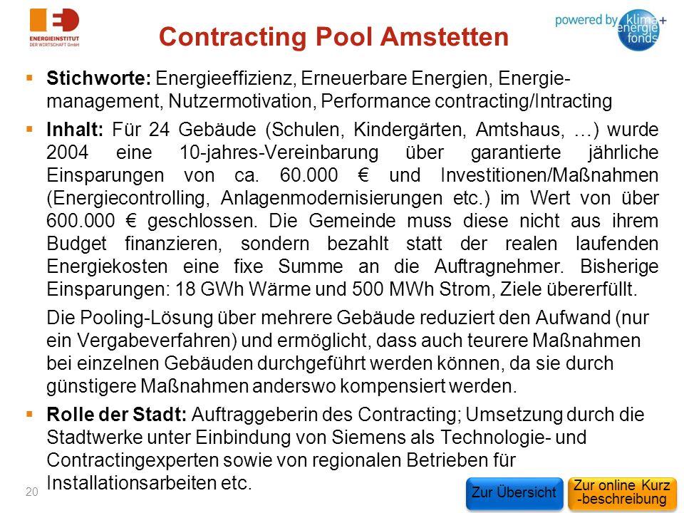 Contracting Pool Amstetten Stichworte: Energieeffizienz, Erneuerbare Energien, Energie- management, Nutzermotivation, Performance contracting/Intracti