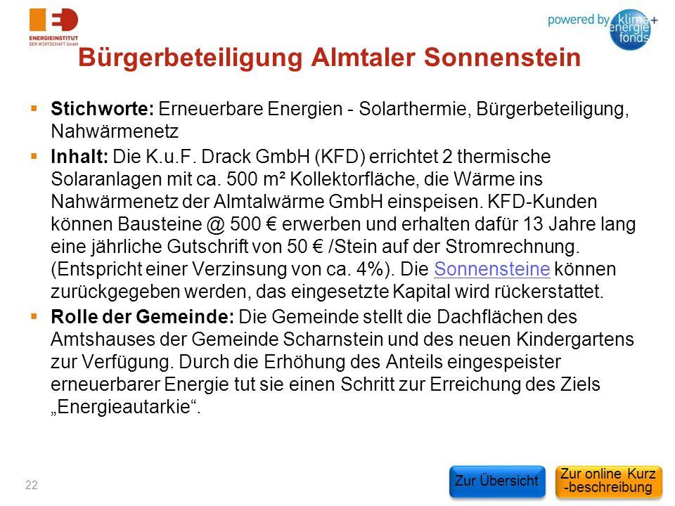 Bürgerbeteiligung Almtaler Sonnenstein Stichworte: Erneuerbare Energien - Solarthermie, Bürgerbeteiligung, Nahwärmenetz Inhalt: Die K.u.F. Drack GmbH