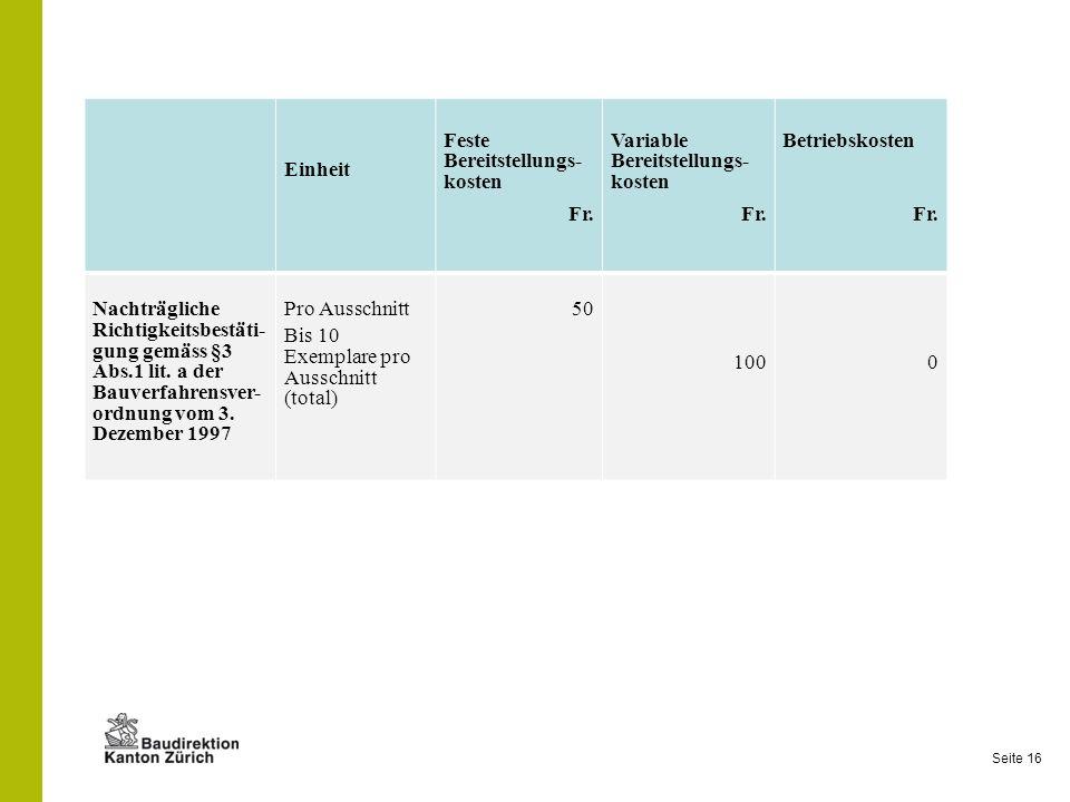 Seite 16 Einheit Feste Bereitstellungs- kosten Fr. Variable Bereitstellungs- kosten Fr. Betriebskosten Fr. Nachträgliche Richtigkeitsbestäti- gung gem