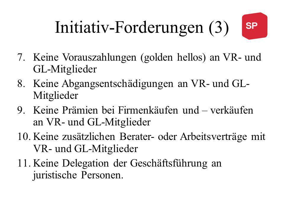Initiativ-Forderungen (3) 7.Keine Vorauszahlungen (golden hellos) an VR- und GL-Mitglieder 8.Keine Abgangsentschädigungen an VR- und GL- Mitglieder 9.Keine Prämien bei Firmenkäufen und – verkäufen an VR- und GL-Mitglieder 10.Keine zusätzlichen Berater- oder Arbeitsverträge mit VR- und GL-Mitglieder 11.Keine Delegation der Geschäftsführung an juristische Personen.