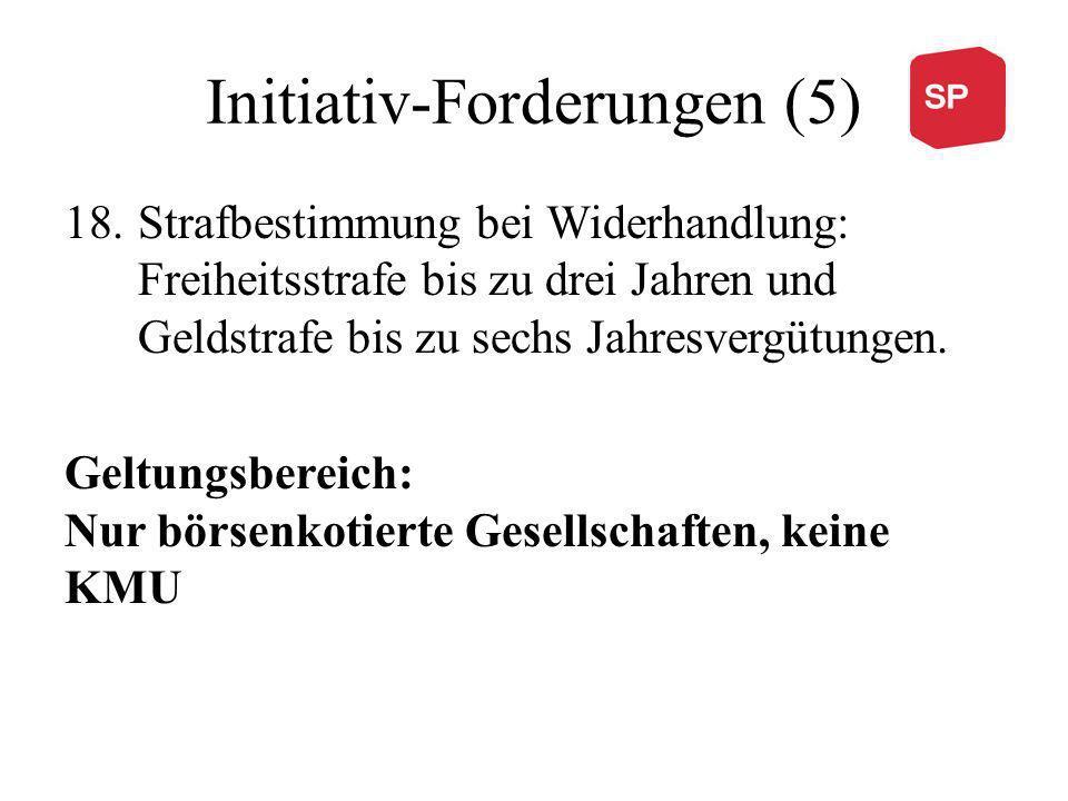 Initiativ-Forderungen (5) 18.Strafbestimmung bei Widerhandlung: Freiheitsstrafe bis zu drei Jahren und Geldstrafe bis zu sechs Jahresvergütungen.