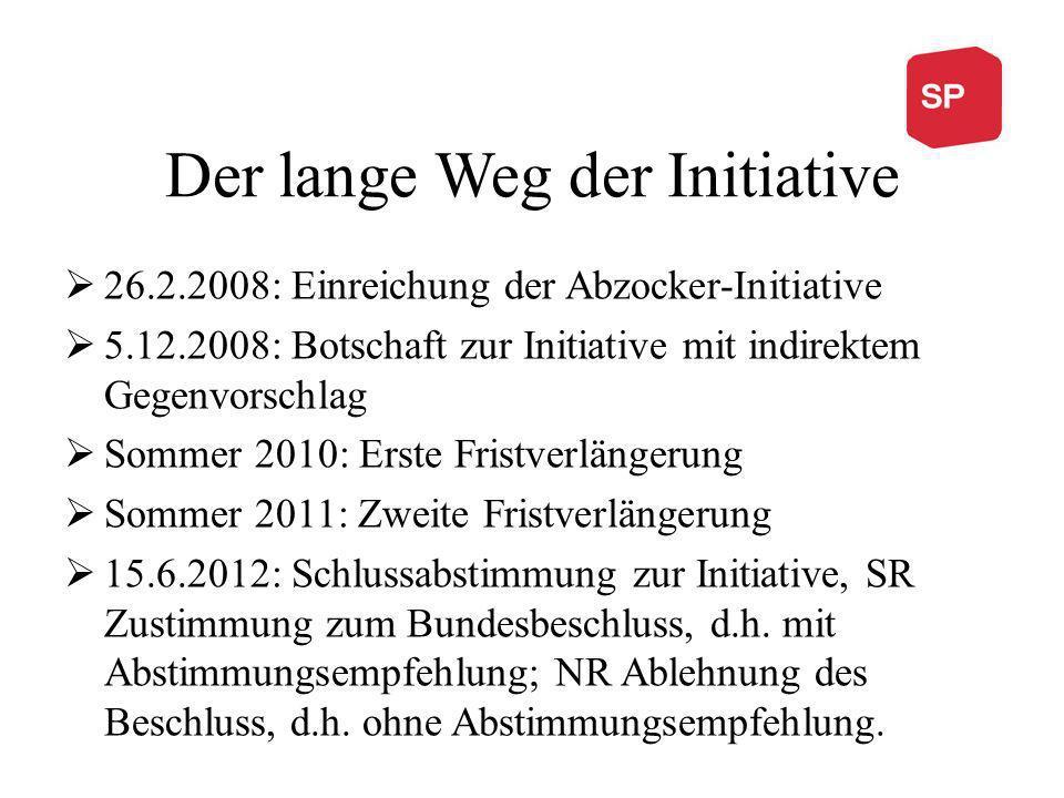 Der lange Weg der Initiative 26.2.2008: Einreichung der Abzocker-Initiative 5.12.2008: Botschaft zur Initiative mit indirektem Gegenvorschlag Sommer 2