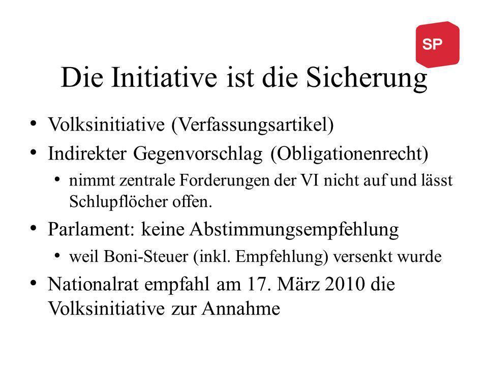 Die Initiative ist die Sicherung Volksinitiative (Verfassungsartikel) Indirekter Gegenvorschlag (Obligationenrecht) nimmt zentrale Forderungen der VI nicht auf und lässt Schlupflöcher offen.
