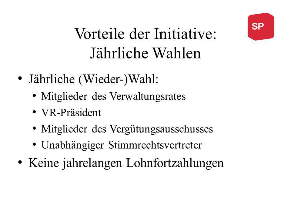 Vorteile der Initiative: Jährliche Wahlen Jährliche (Wieder-)Wahl: Mitglieder des Verwaltungsrates VR-Präsident Mitglieder des Vergütungsausschusses U