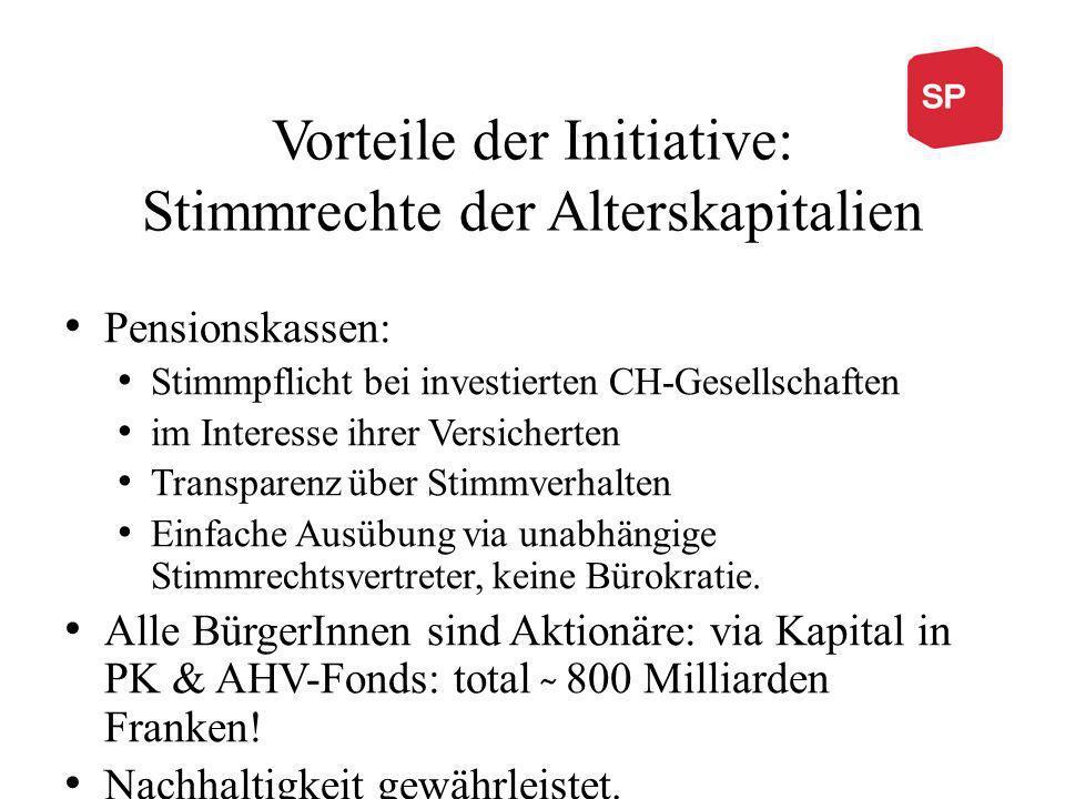 Vorteile der Initiative: Stimmrechte der Alterskapitalien Pensionskassen: Stimmpflicht bei investierten CH-Gesellschaften im Interesse ihrer Versicher