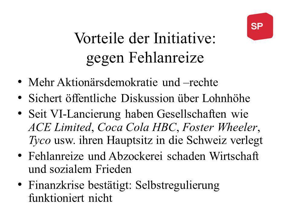 Vorteile der Initiative: gegen Fehlanreize Mehr Aktionärsdemokratie und –rechte Sichert öffentliche Diskussion über Lohnhöhe Seit VI-Lancierung haben