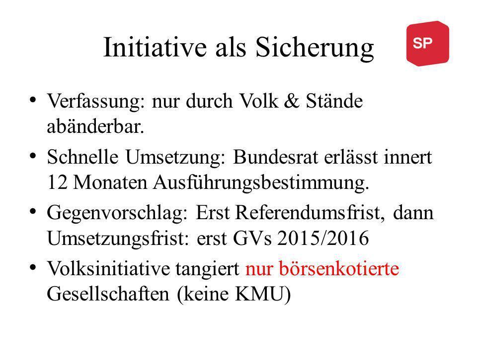 Initiative als Sicherung Verfassung: nur durch Volk & Stände abänderbar.