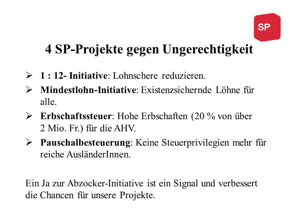 4 SP-Projekte gegen Ungerechtigkeit 1 : 12- Initiative: Lohnschere reduzieren.