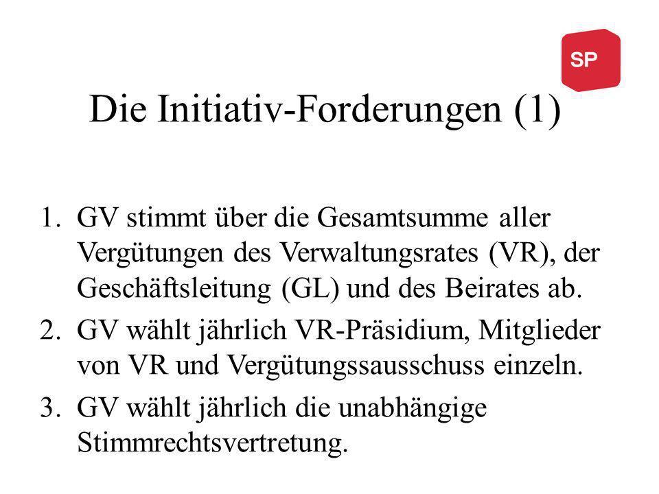 Die Initiativ-Forderungen (1) 1.GV stimmt über die Gesamtsumme aller Vergütungen des Verwaltungsrates (VR), der Geschäftsleitung (GL) und des Beirates ab.