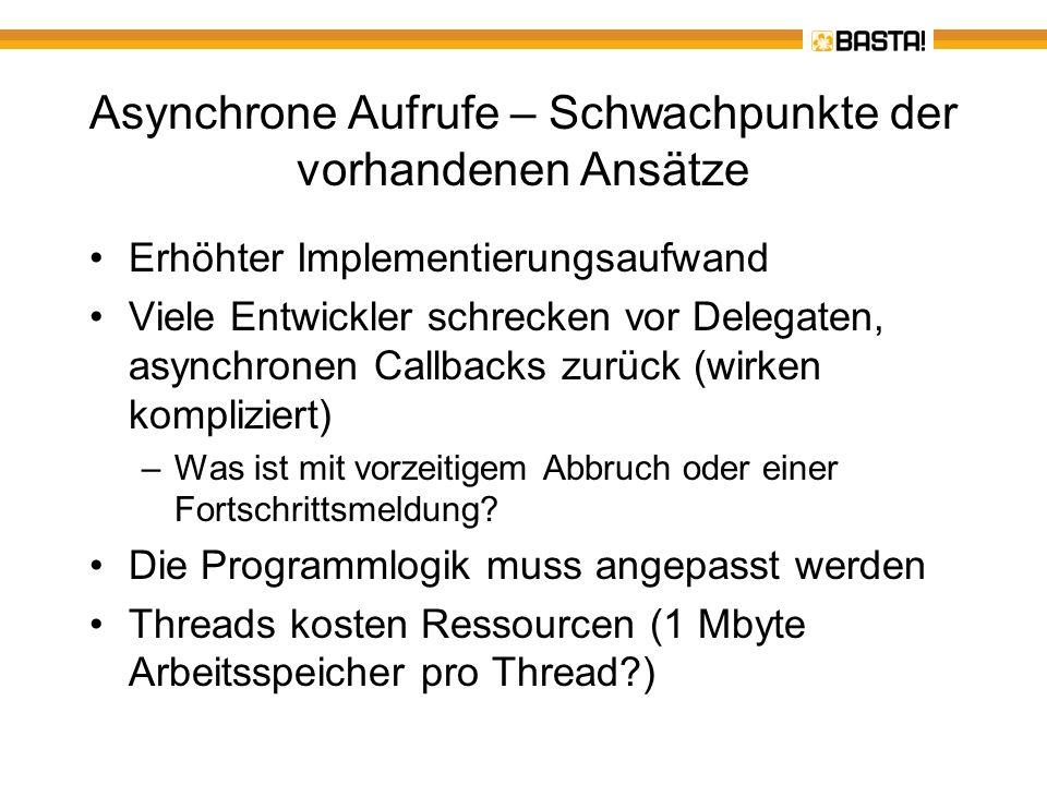 Asynchrone Aufrufe – Neu: TAP TAP – Task-based asynchronous Patterns Empfehlung von Microsoft für die Umsetzung und den asynchronen Aufruf beliebiger Methoden Unbedingt das White-Paper lesen http://www.microsoft.com/download/en/details.aspx?id=19957