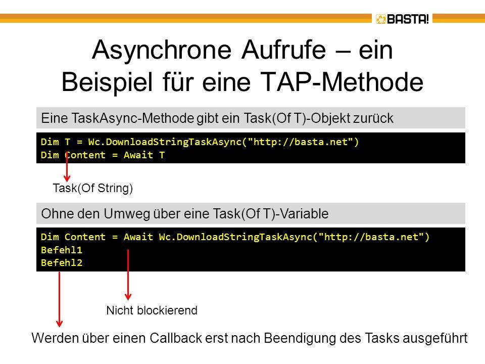 Asynchrone Aufrufe - TAP bei.NET 4.5.NET 4.5 implementiert TAP auf zwei Ebenen –Es gibt verschiedene AsyncTask- Methoden, z.B.