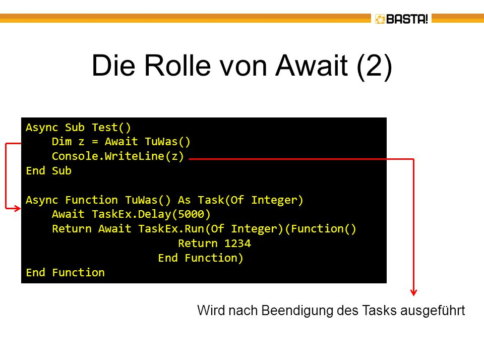 Die Rolle von Await (2) Async Sub Test() Dim z = Await TuWas() Console.WriteLine(z) End Sub Async Function TuWas() As Task(Of Integer) Await TaskEx.De