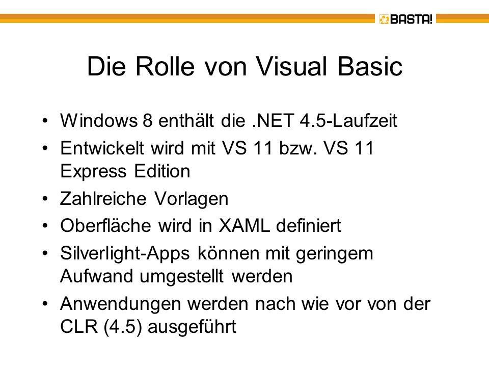 Verbesserungen bei.NET 4.5 und VS 11 Neue Klassen, z.B.