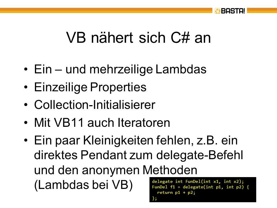 VB hat aufgeholt XNA 4.0 – DirectX-Spiele können auch in VB entwickelt werden.NET MicroFramework ab Version 4.2 – VB-Code läuft auf kleinen RISC-CPUs Microsoft Surface 2.0 SDK enthält VB-Beispiele Windows Phone 7 – VB-Code läuft (unter Silverlight) auf einem SmartPhone Im Rahmen von Silverlight läuft VB-Code auch unter Mac OS X Es gibt keine Abhängigkeit zur VB-Laufzeit (Namespace Microsoft.VisualBasic) mehr