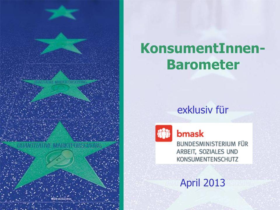 Auf Fakten setzen, auf Menschen zählen KonsumentInnen-Barometer April 2013 Auf Fakten setzen, auf Menschen zählen Seite 132 MW 1,75 2,00 2,10 2,26 2,52 Ich möchte jetzt noch ein paar Versorgungsleistungen mit Ihnen durchgehen.