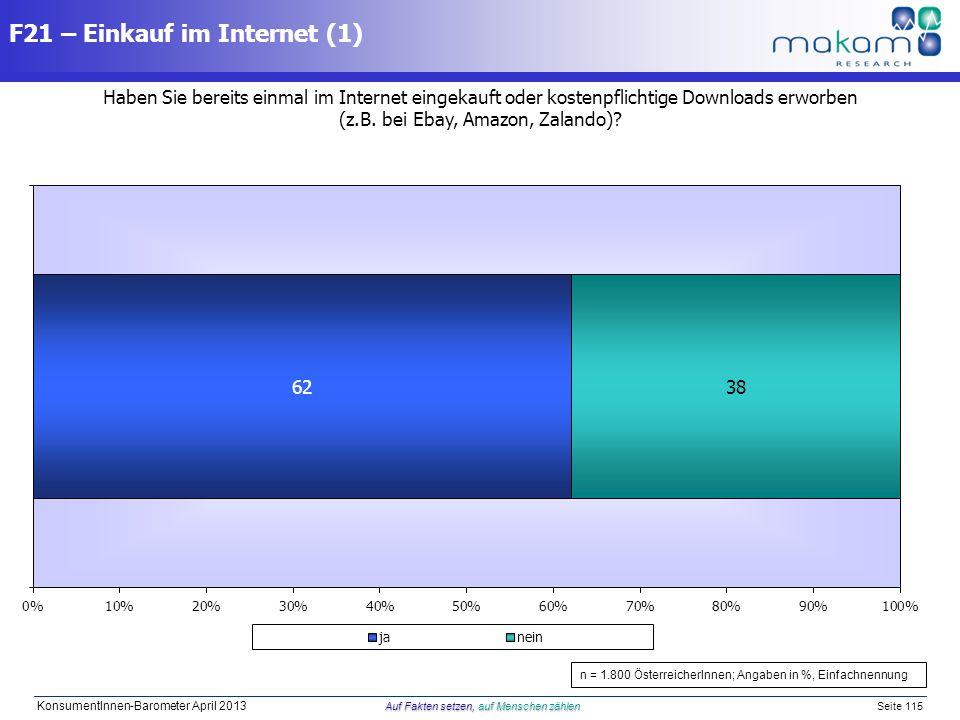 Auf Fakten setzen, auf Menschen zählen KonsumentInnen-Barometer April 2013 Auf Fakten setzen, auf Menschen zählen Seite 115 Haben Sie bereits einmal i