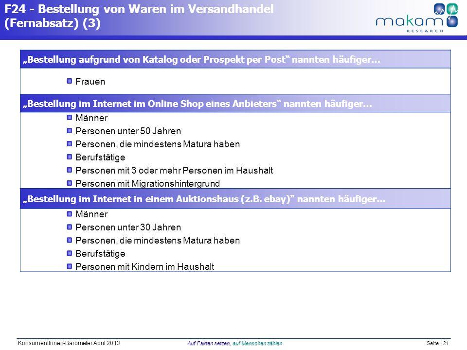 Auf Fakten setzen, auf Menschen zählen KonsumentInnen-Barometer April 2013 Auf Fakten setzen, auf Menschen zählen Seite 121 Bestellung aufgrund von Ka