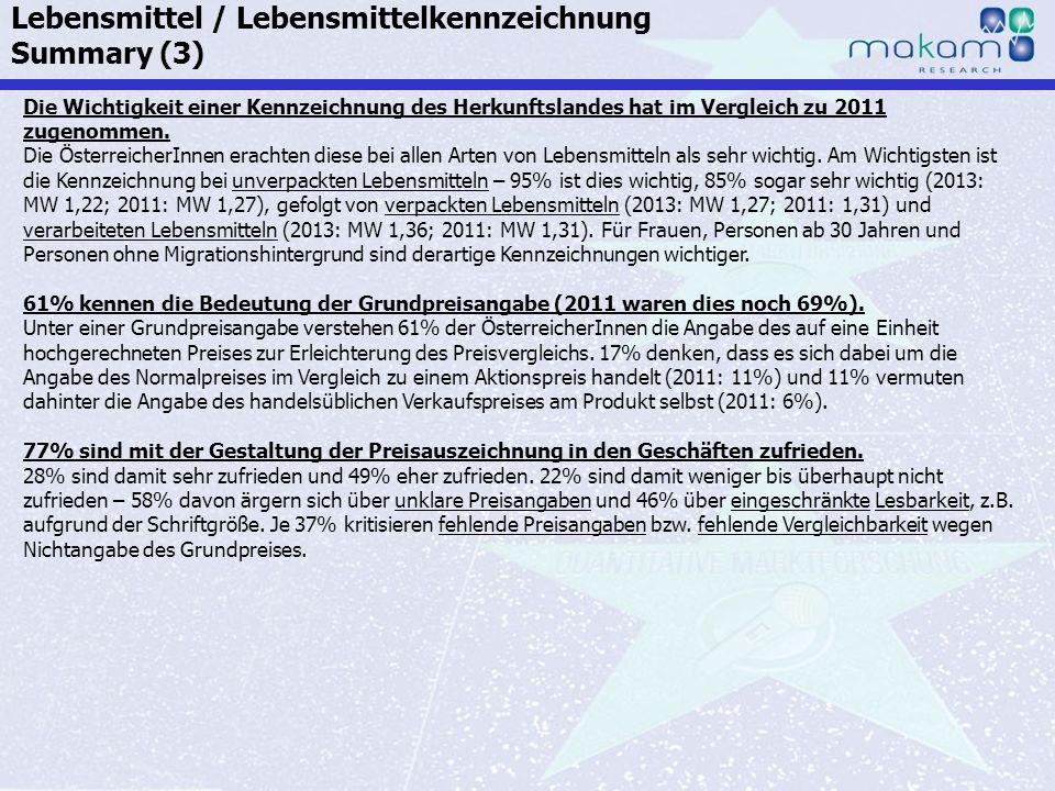Auf Fakten setzen, auf Menschen zählen KonsumentInnen-Barometer April 2013 Auf Fakten setzen, auf Menschen zählen Seite 145 Die Wichtigkeit einer Kenn