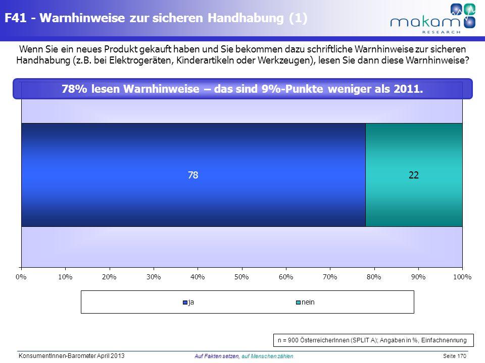 Auf Fakten setzen, auf Menschen zählen KonsumentInnen-Barometer April 2013 Auf Fakten setzen, auf Menschen zählen Seite 170 Wenn Sie ein neues Produkt