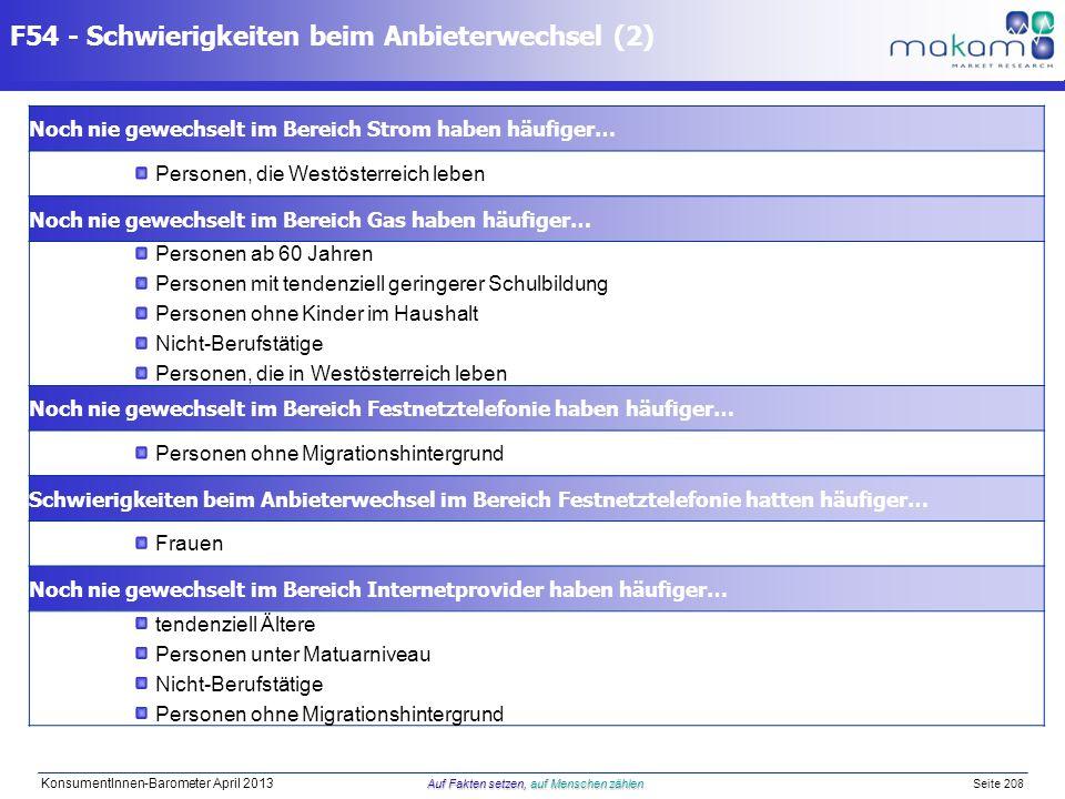 Auf Fakten setzen, auf Menschen zählen KonsumentInnen-Barometer April 2013 Auf Fakten setzen, auf Menschen zählen Seite 208 F54 - Schwierigkeiten beim