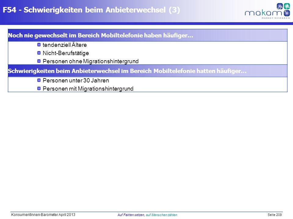 Auf Fakten setzen, auf Menschen zählen KonsumentInnen-Barometer April 2013 Auf Fakten setzen, auf Menschen zählen Seite 209 F54 - Schwierigkeiten beim