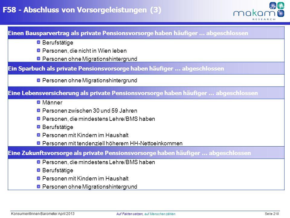 Auf Fakten setzen, auf Menschen zählen KonsumentInnen-Barometer April 2013 Auf Fakten setzen, auf Menschen zählen Seite 218 F58 - Abschluss von Vorsor