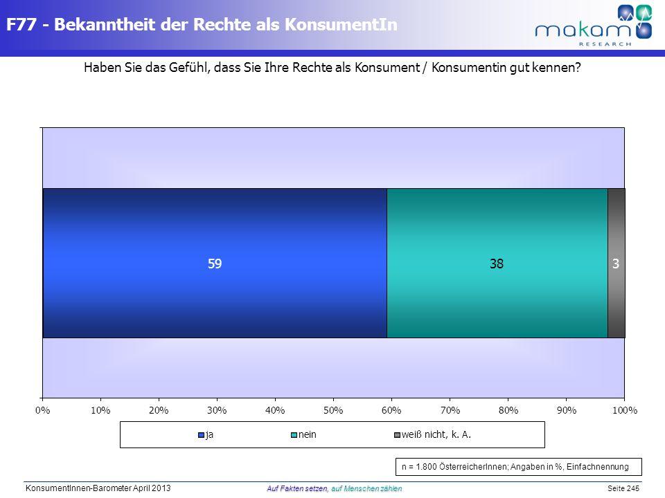 Auf Fakten setzen, auf Menschen zählen KonsumentInnen-Barometer April 2013 Auf Fakten setzen, auf Menschen zählen Seite 245 Haben Sie das Gefühl, dass