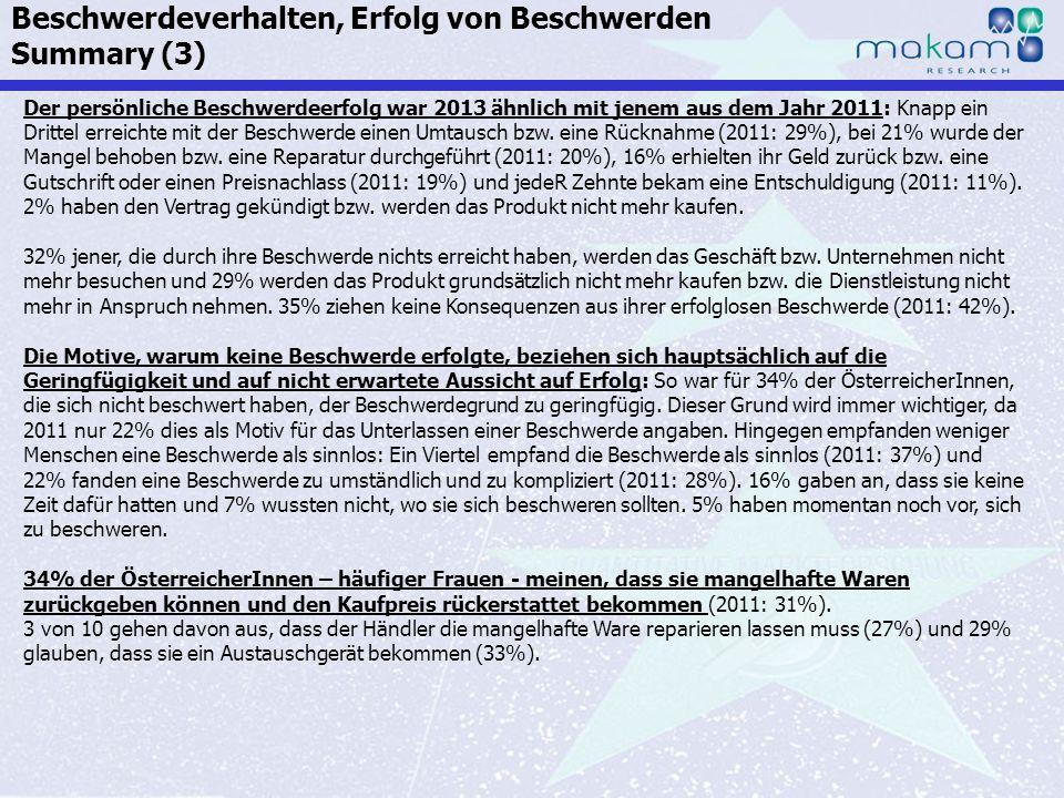 Auf Fakten setzen, auf Menschen zählen KonsumentInnen-Barometer April 2013 Auf Fakten setzen, auf Menschen zählen Seite 40 Der persönliche Beschwerdee