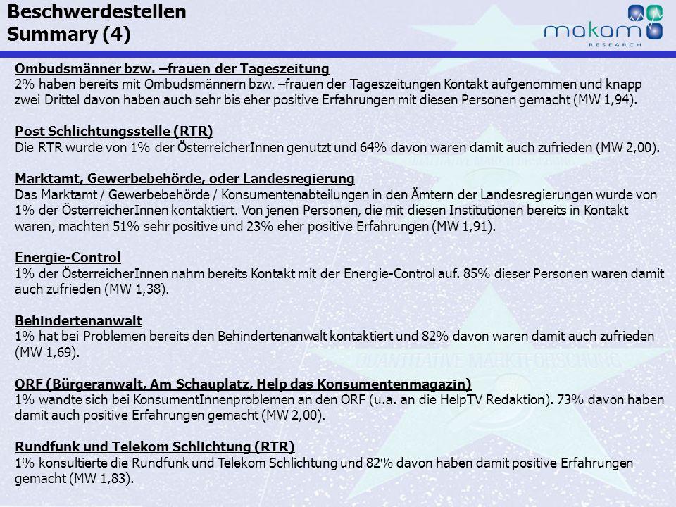 Auf Fakten setzen, auf Menschen zählen KonsumentInnen-Barometer April 2013 Auf Fakten setzen, auf Menschen zählen Seite 78 Ombudsmänner bzw. –frauen d